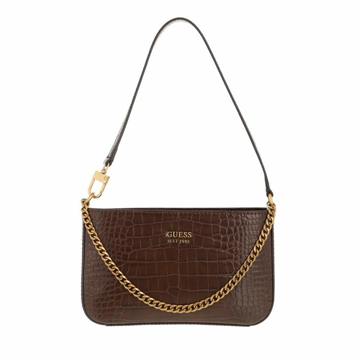 bags, Guess, Katey Mini Top Zip Shoulder Brown