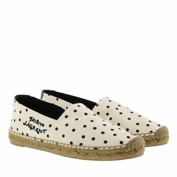 Schuh, Saint Laurent, Logo Espadrilles Cream Black