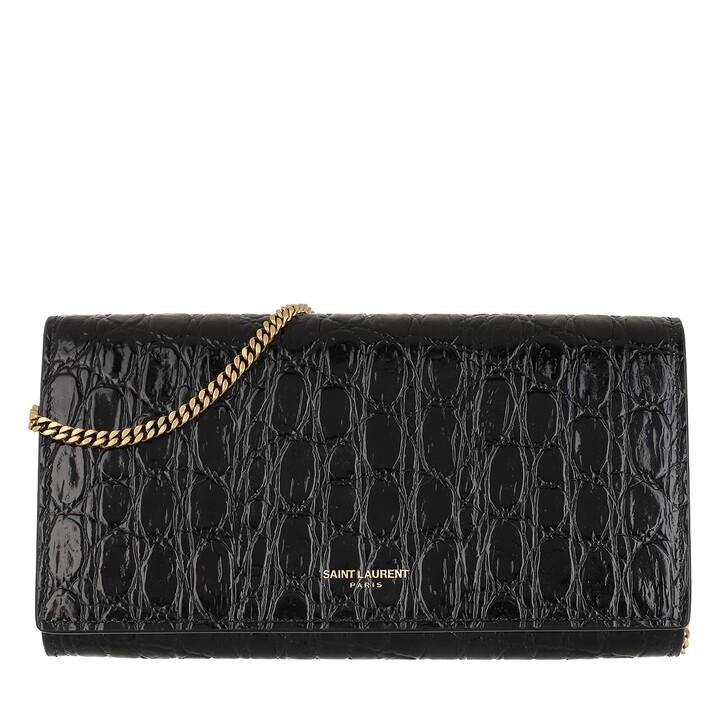 Handtasche, Saint Laurent, Logo Wallet On Chain Leather Black
