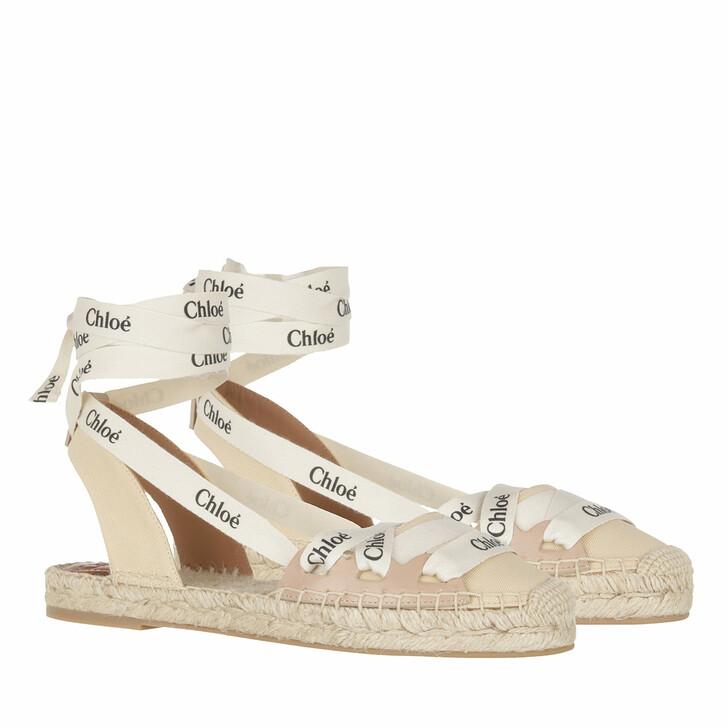 Schuh, Chloé, Flat Ingrid Lace Espadrilles Canvas Soft Tan