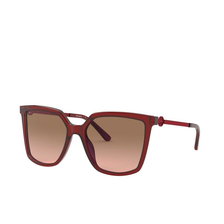 Sonnenbrille, Tory Burch, Woman Sunglasses Acetate Transparent Red