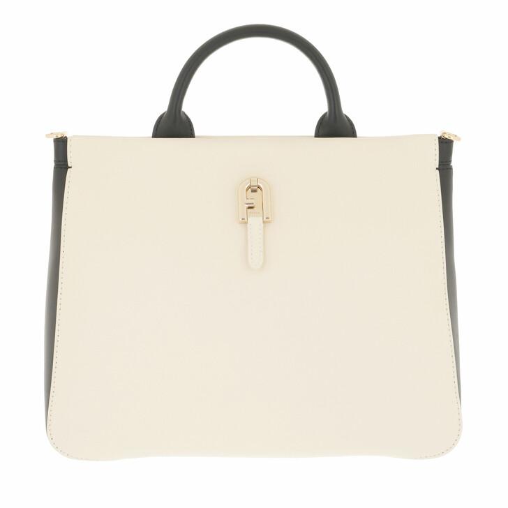 bags, Furla, Furla Palazzo S Tote White Cotton+Nero