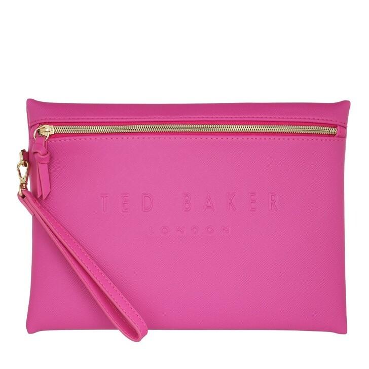 Handtasche, Ted Baker, Saffiano Deboss Wristlet Pouch Bright Pink