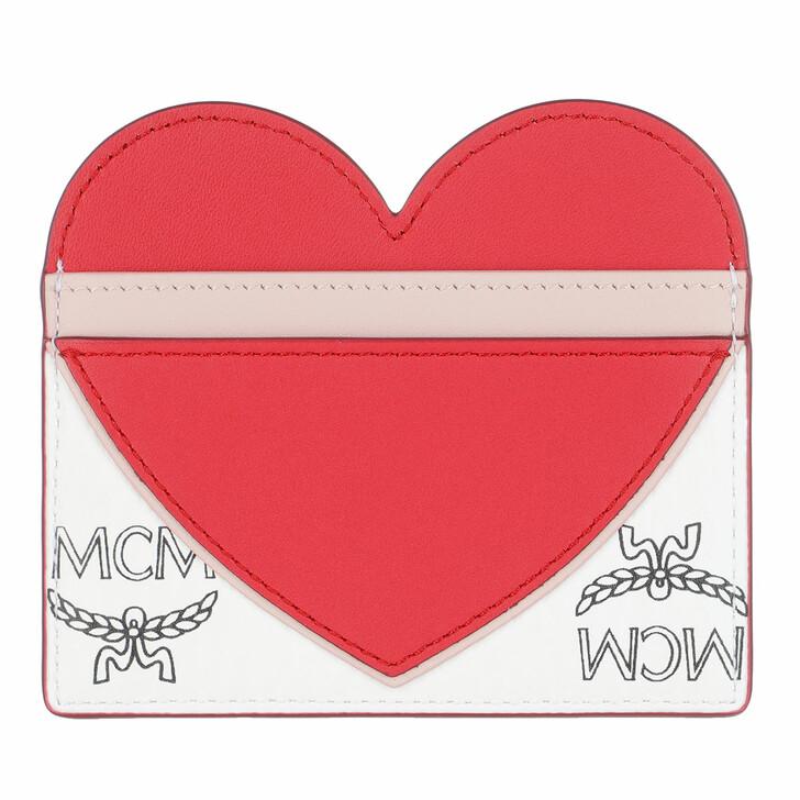 Geldbörse, MCM, Visetos Leather Mix Chinese Red