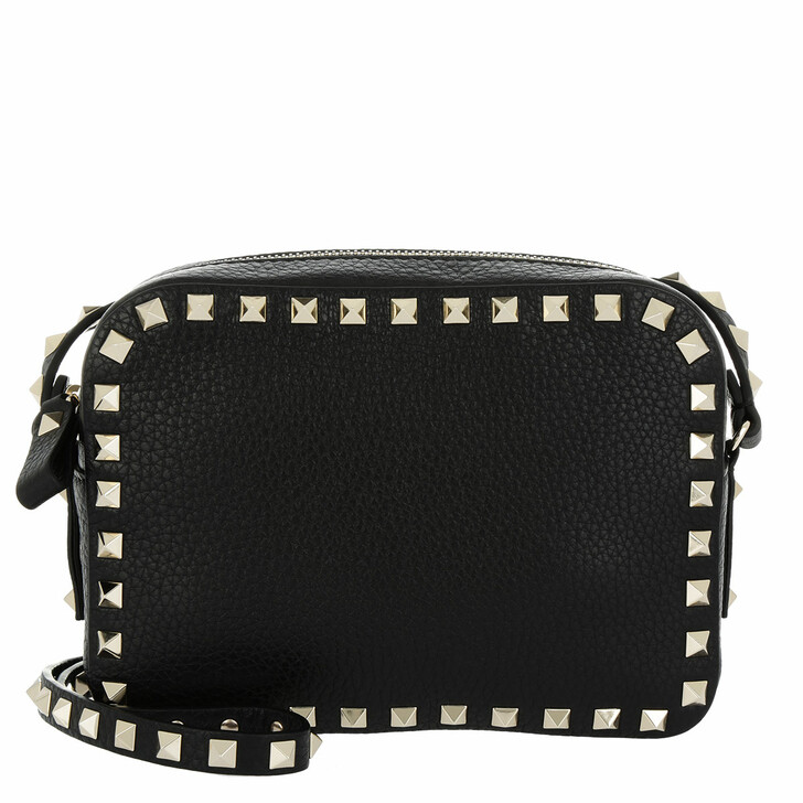 Handtasche, Valentino Garavani, Rockstud Camera Crossbody Bag Grained Black