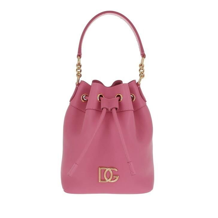 Handtasche, Dolce&Gabbana, Logo Bucket Bag Leather Rosa