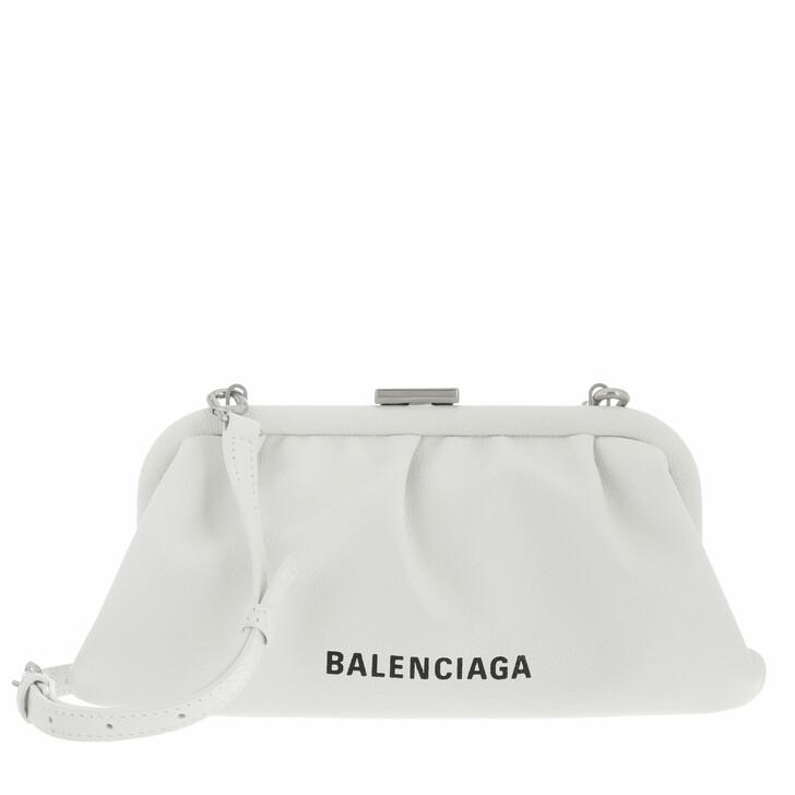 bags, Balenciaga, Cloud XS Clutch With Strap White