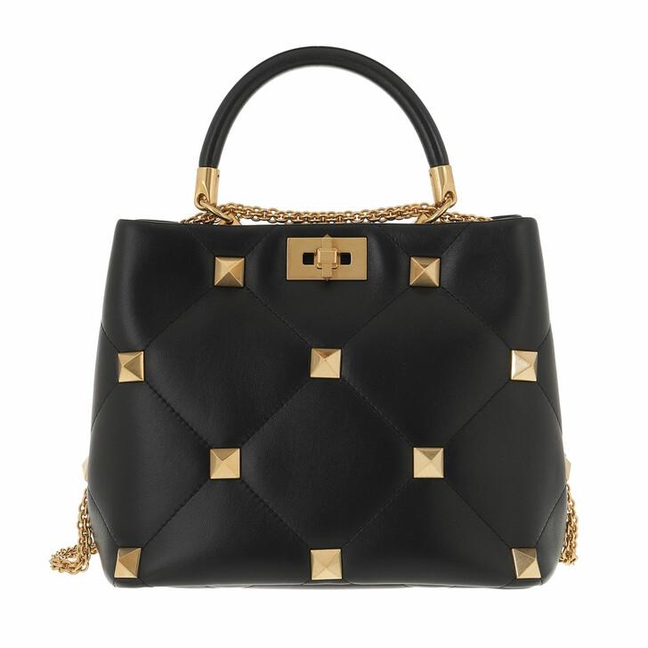 bags, Valentino Garavani, Roman Stud Handle Bag Black