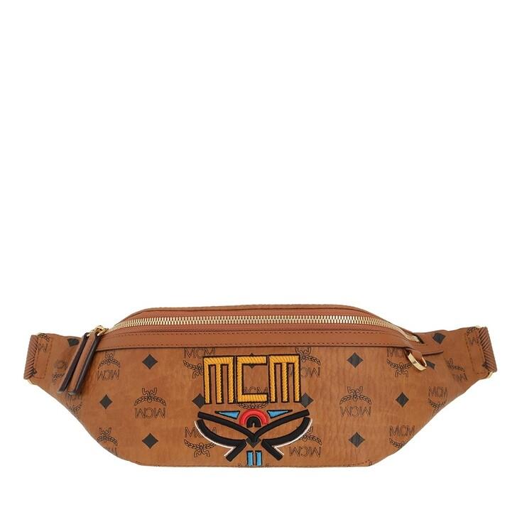 Handtasche, MCM, Fursten Tribal Laurel Belt Bag Medium Cognac
