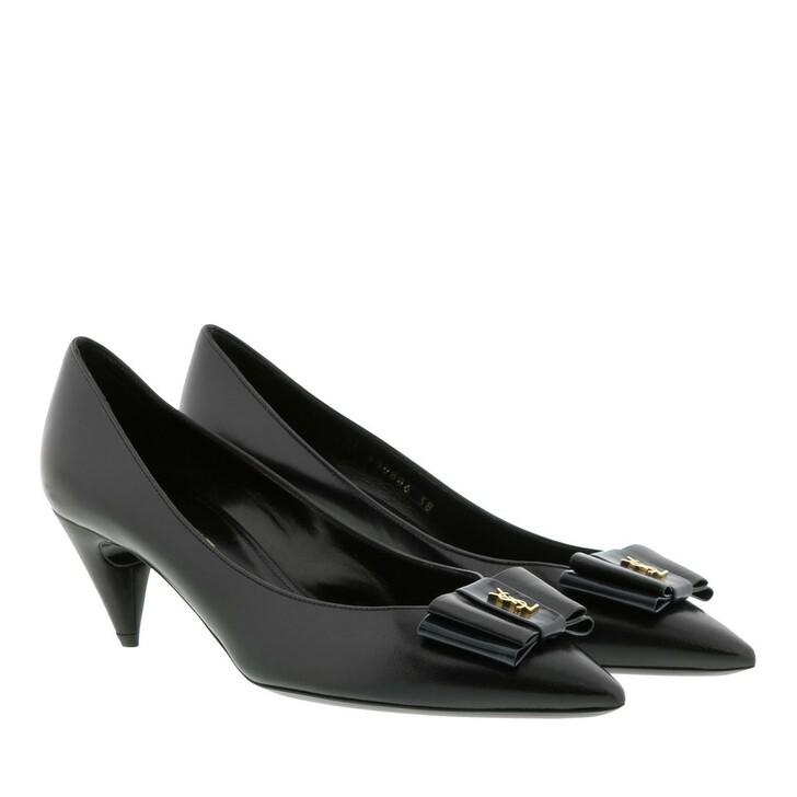 Schuh, Saint Laurent, Anais 55 Decollete Pumps Leather Black Navy