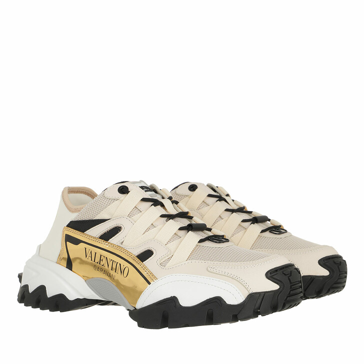 Schuh, Valentino Garavani, Climbers Sneakers Textile/Leather Light Ivory