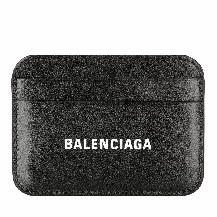 wallets, Balenciaga, Logo Card Holder Leather Black/White