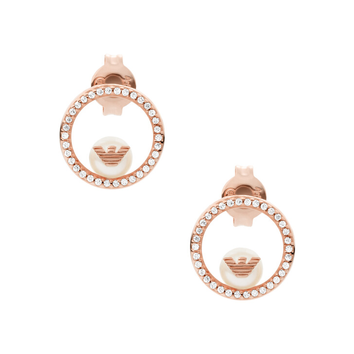 Ohrring, Emporio Armani, Sterling Silver Drop Earrings Rose Gold