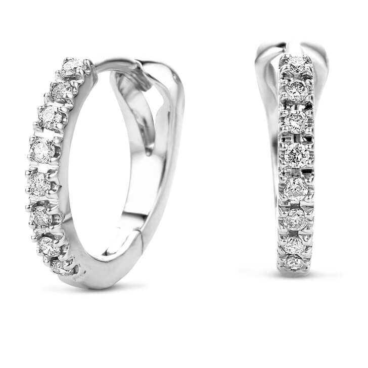 Ohrring, DIAMADA, 14KT 0.11ct Diamond Creole Earring White Gold