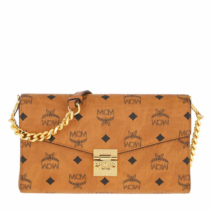 bags, MCM, Millie Visetos Medium Crossbody Bag Cognac