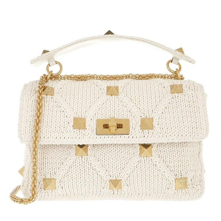Handtasche, Valentino Garavani, Rockstud Knitted Shoulder Bag Ecru