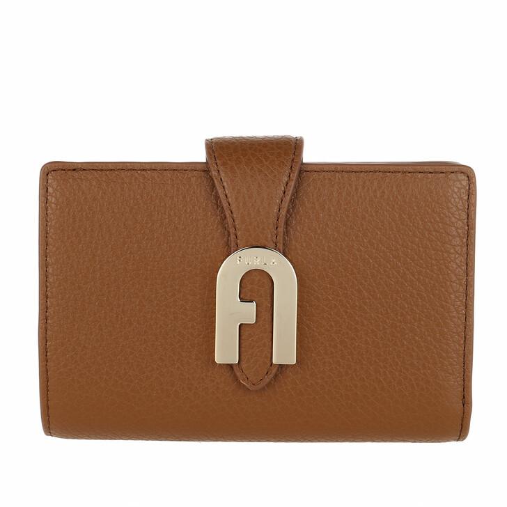wallets, Furla, Sofia Grainy Medium Compact Wallet Cognac