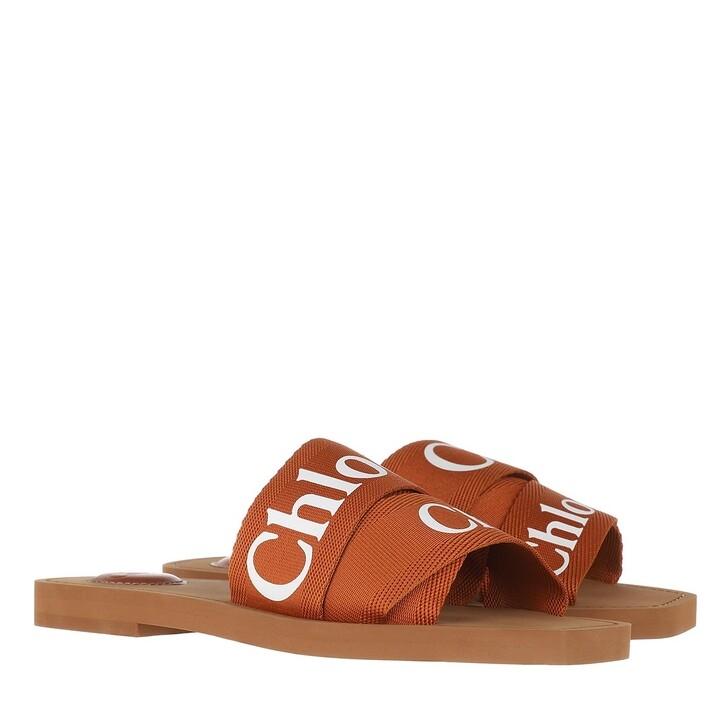 Schuh, Chloé, Chloé Canvas Logo Sandals Red Bush