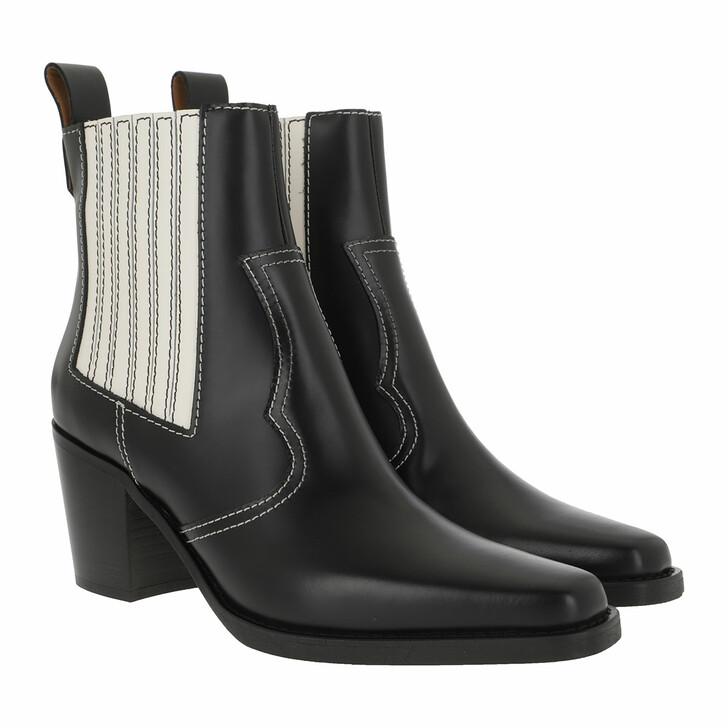 Schuh, GANNI, Western Boot Belly Croc Black