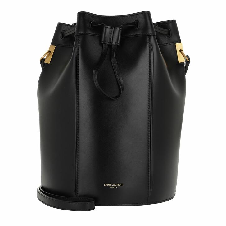 Handtasche, Saint Laurent, Talitha Medium Bucket Bag Smooth Leather Black