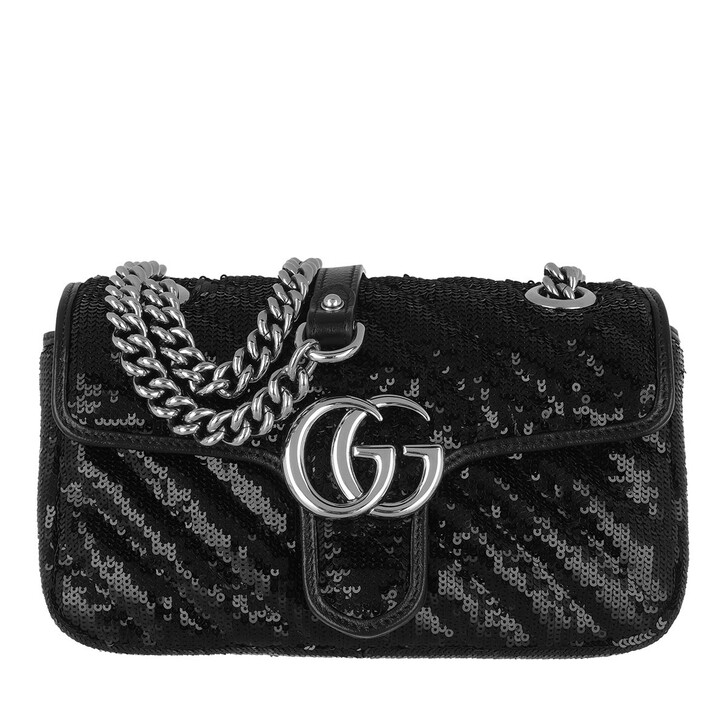 bags, Gucci, GG Marmont Matelassé Crossbody Bag Sequin Black