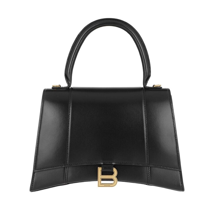 Handtasche, Balenciaga, Hourglass Medium Satchel Bag Leather Black