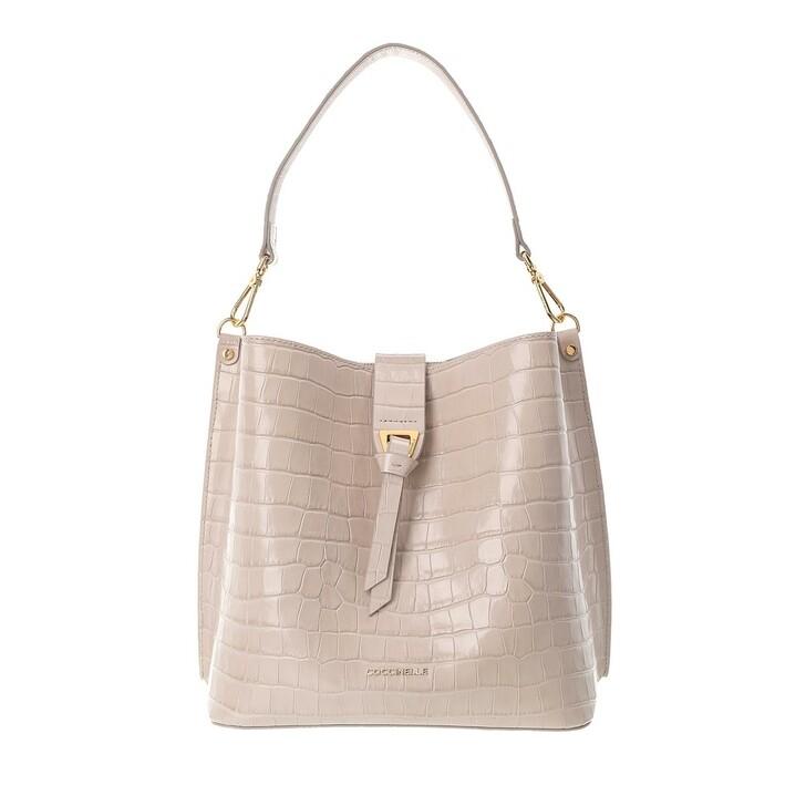 Handtasche, Coccinelle, Alba Croco Shiny Soft Bucket Bag Powder Pink