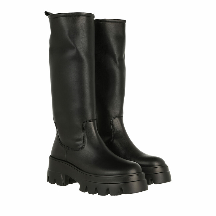 shoes, Toral, High Leather Boot With Track Sole Black