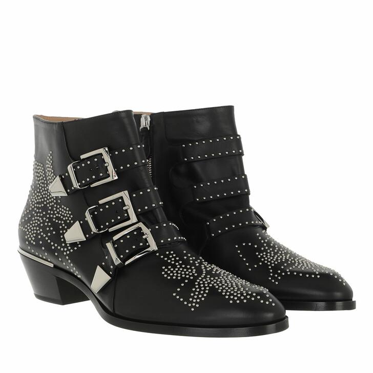 shoes, Chloé, Susanna Nappa Boots Black Silver