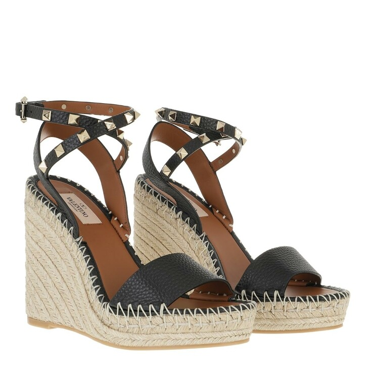 Schuh, Valentino Garavani, Rockstud Double Wedge Sandal Calfskin Leather Black
