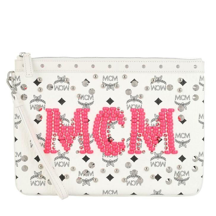 Handtasche, MCM, Neon Stud V U-P26 Topzip Med Pouch White
