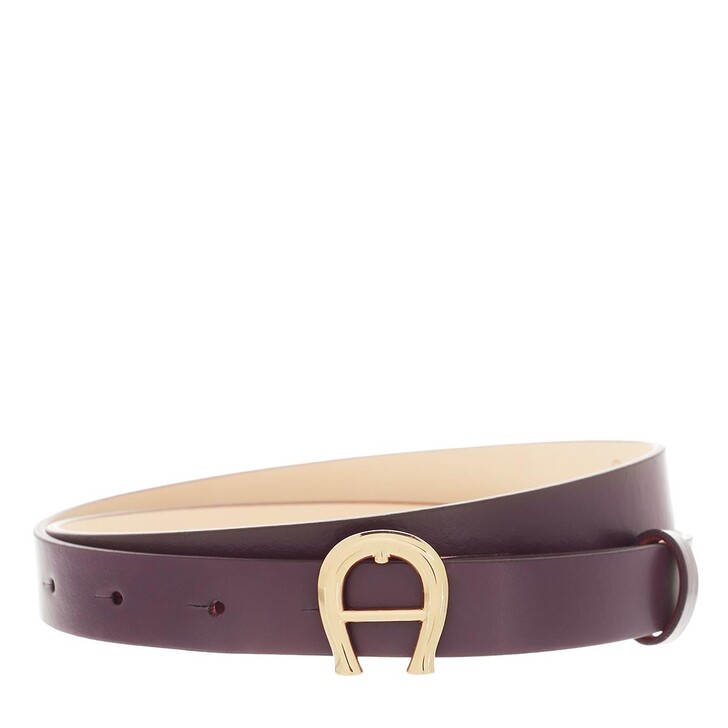 belts, AIGNER, Logo Belt 2 cm Plum