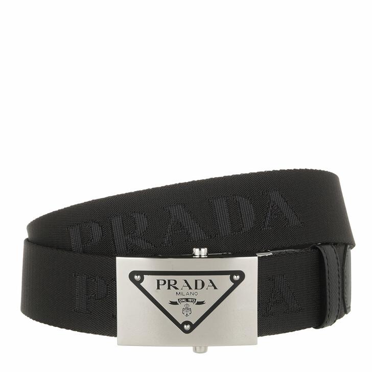 belts, Prada, Embossed Logo Metal Buckle Belt Nylon Black