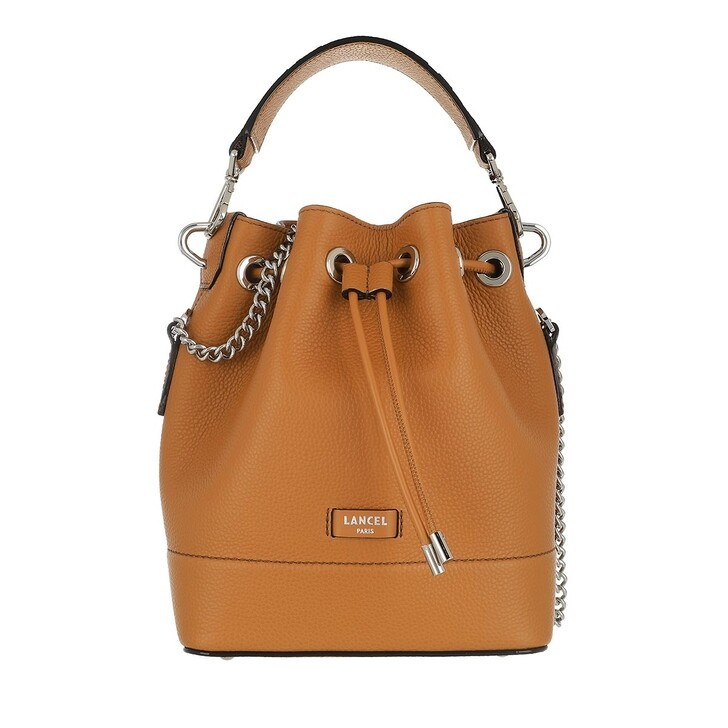 bags, Lancel, Ninon Grained Leather Bucket Bag Small Camel