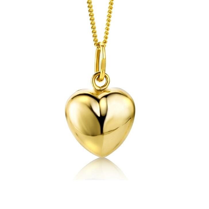 Kette, DIAMADA, 9KT Heart Pendant on 45cm Chain Yellow Gold