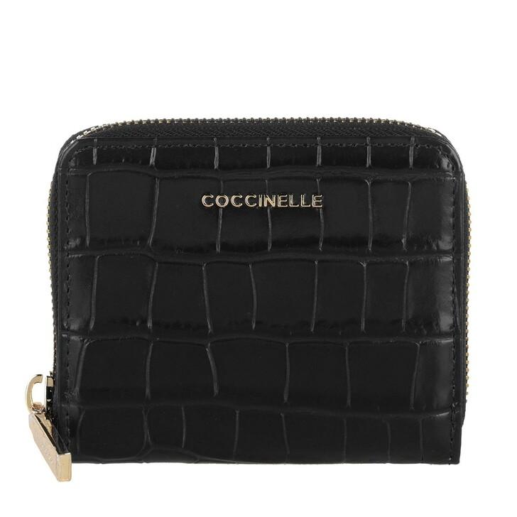 wallets, Coccinelle, Wallet Soft Croco Leather Noir