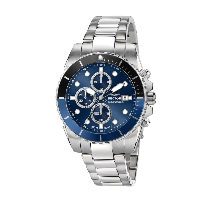 watches, Sector, 450 43Mm Chr Blue Dial Br SS+Yg Silver