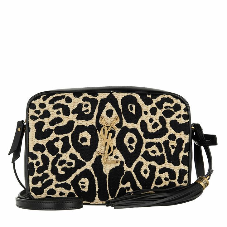 bags, Saint Laurent, Medium Lou Satchel Bag Black/Beige