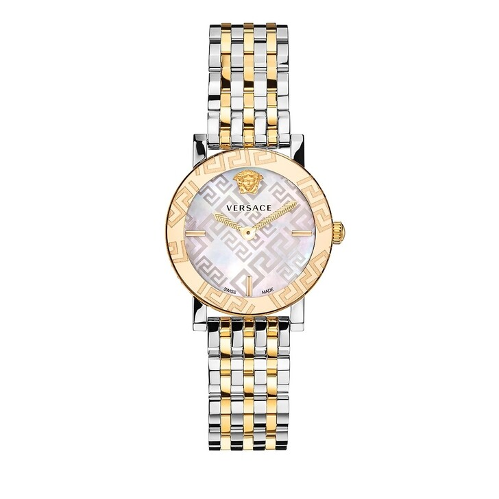 watches, Versace, GRECA GLASS Watch Silver & Yellow Gold Tone