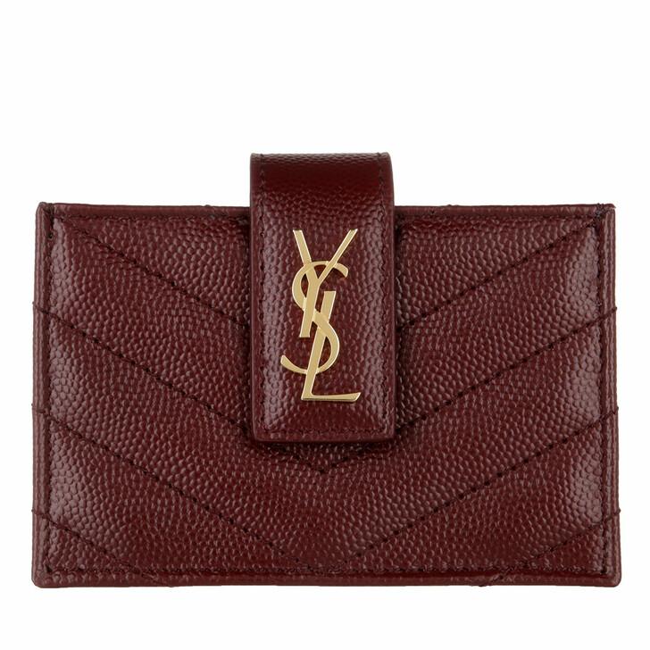 Geldbörse, Saint Laurent, Monogram Business Card Case Leather Bordeaux