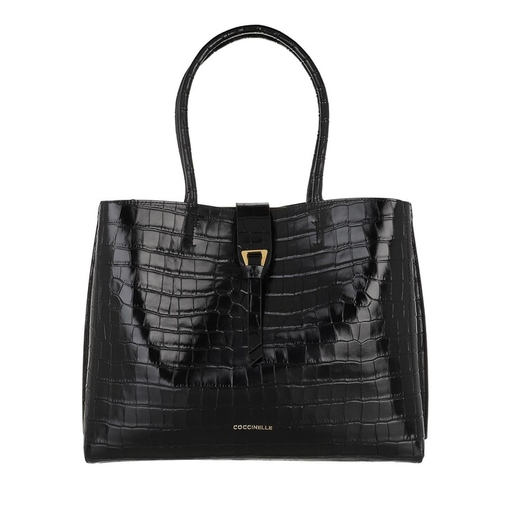bags, Coccinelle, Alba Croco Shiny Soft Shopper Noir
