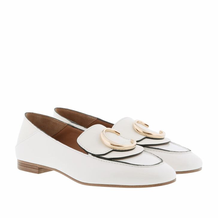 shoes, Chloé, Loafer Shiny Calfskin Natural White