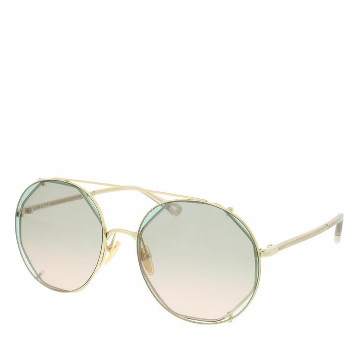 sunglasses, Chloé, Sunglass WOMAN METAL GOLD-HAVANA-GREEN