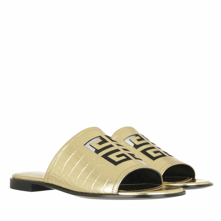 Schuh, Givenchy, 4G Cut Out Logo Flat Mule Sandals Gold Yellow