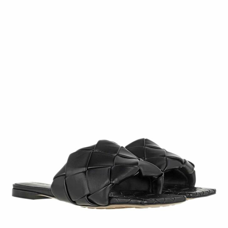 Schuh, Bottega Veneta, Lido Intrecciato Flat Sandals Black