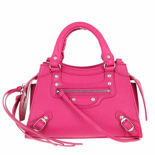 Neo Classic Mini Top Handle Bag Grained Calfskin Fuchsia