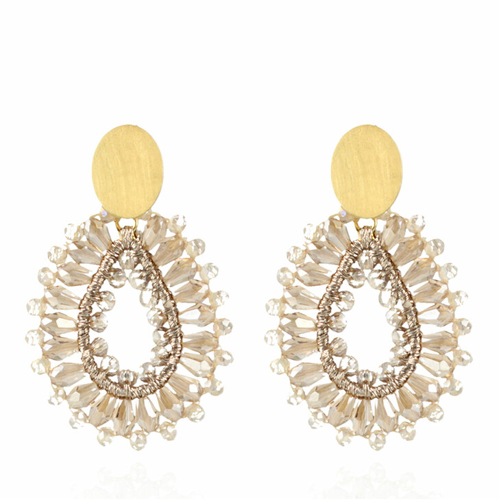 earrings, LOTT.gioielli, Earring Silk Drop Crystal Small Champagne and Gold