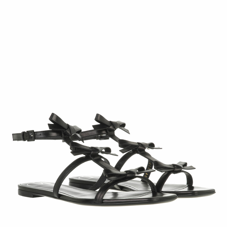 shoes, Valentino Garavani, French Bow Flat Sandals Black