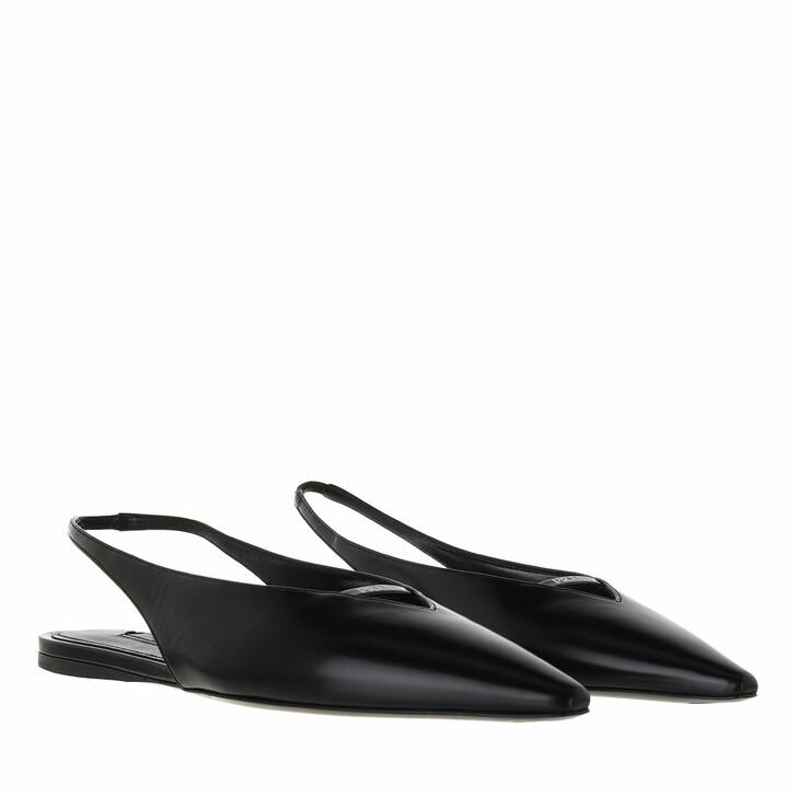 shoes, Prada, Flat Slingback Loafer Brushed Leather Black