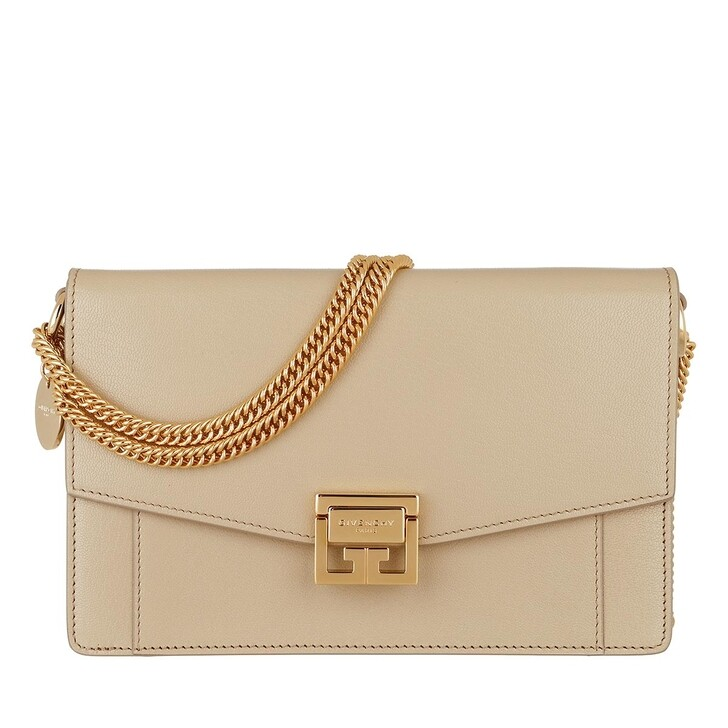Geldbörse, Givenchy, GV3 Wallet On Chain Grained Leather Beige